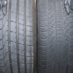"Stock 19"" Mustang wheel tire tread comparison"
