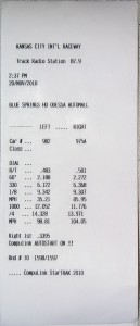 2011 V6 Drag Run Timeslip